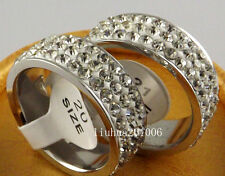 5 pcs High quality Three rows of clay zircon Stainless steel RINGS jewelry lots
