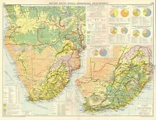 1928 MAP ~ BRITISH SOUTH AFRICA COMMERICAL DEVELOPMENT FOREGIN TRADE ~ TRAIN
