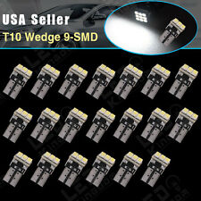 20X Pure White T10 9SMD Wedge W5W 168 192 2825 Dome LED Interior Light Bulbs 12V