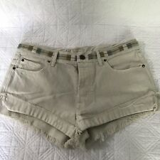 Free People Beige Button Fly Cutoff Shorts Multicolor Embroidery Size 27