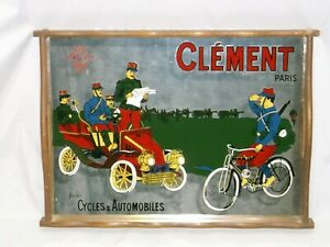 RARE Vtg Clement Paris Reverse Screened Mirror Wood Frame WWI Cycles Autos Tray