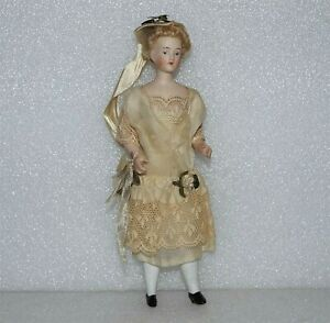 "ANTIQUE GERMAN BISQUE Bride Original Clothes & Hair 6 1/2"" WOMAN DOLLHOUSE DOLL"
