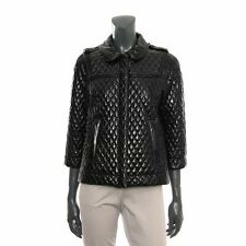 See by Chloé Black quilted faux patent leather jacket UK 10 BNWT