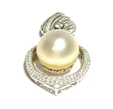 Stunning Australian South Sea 12.4mm Natural Gold Semi Round Pearl Pendant