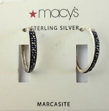 """New Sterling Silver Earrings Marcasite Set Oval Hoops by Macy's 3/4"""" long"""