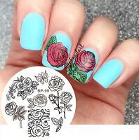 Born Pretty 5.5cm Rund Nagel Kunst Schablone Stamping Platte Rose BP-99