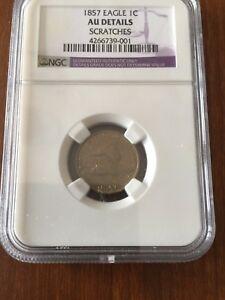1857 flying eagle cent AU DETAILS NGC