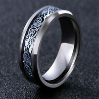 Titanium Stainless Steel Ring Silver Celtic Dragon Mens Jewelry Retro Band Rings