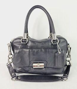 COACH Kristin Black Leather Satchel Shoulder Convertible Purse Handbag 14782