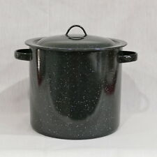 Large Enamelware Black Speckled Pot with Lid ~ Canning, Soup, Stock, Crab Boil