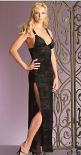 M BEAUTIFUL BLACK VELVET BURNOUT LONG GOWN DRESS GOTHIC EVENING