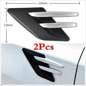 Black/Silver Car Side Fender Air Intake Vent Cover ABS Sticker Trim 23x11cm Pair