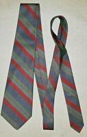 MARINELLA NAPOLI Cravatta vintage 100% SETA silk righe blue,rosse verde azzurre