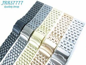 26mm Watch Bracelet Stainless Steel Multicolored Brushed Polishing 7 Row Link