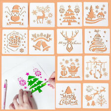 12pcs Christmas Stencils Embossing Scrapbooking Craft Layering Painting Template