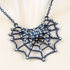 Spider Web Crystal Beaded Spider Necklace Pendant Gothic Halloween