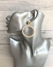 Pearl Hoop Dangle Earrings in Gold Tone  6 cms drop - lightweight to wear