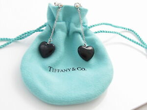 Tiffany & Co Silver RARE Onyx Heart Dangle Dangling Earrings