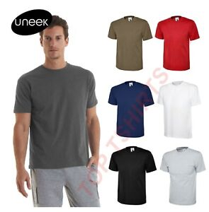 Uneek Classic T-Shirt UC301 Uniex 100% Cotton Tee Shirt Short Sleeve Casual Mens