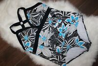 SONOMA One-Piece Swimsuit Pool Aqua Blue White Floral Crossback Size 24W=3X