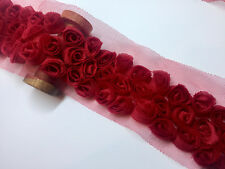 RED 3 Row Rose Trimming - Rosette Flower Lace Trim - Bridal Net Tulle - by M
