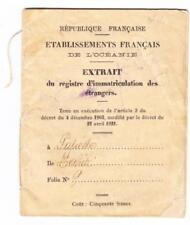 Français Océanie Enregistrement de Foreigners-Issued Papeete 1925-INTERNAL Pass
