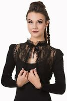 Banned Black Floral Lace Rose Gothic Steampunk Bolero Cropped Cardigan Shrug Top