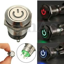 12V 9.5mm LED Metallo Interruttore Pulsante Momentaneo Push Button Switch Auto