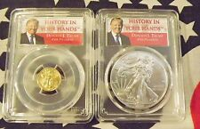 2017 American Eagle Silver + Gold : PCGS MS-69 First Strike : Trump Label