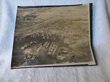 1945+ GUAM Aerial PHOTO Sepia Tone Airfield Runway Planes Tents