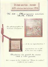 """Diagramme broderie """"Il était une fois"""" de Muriel Brunet : Marquoir ancien 1865"""