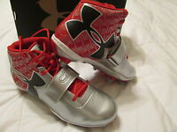 NEW UNDER ARMOUR C1N CAM FOOTBALL/LACROSSE CLEATS RED/BLACK 8.5 FREE SHIPPING