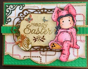 EASTER - MAGNOLIA TILDA in Bunny outfit - Handmade card by DEE