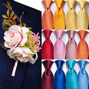 Men Tie Silk Necktie Lapel Flower Pin Set Red Blue Black Solid Wedding Accessory