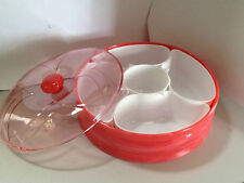 5 in 1  Divided Snack Nuts Fruits Candy Serving Dishes Tray Plate Bowls Lid Set