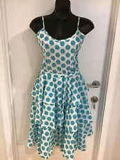 Size 12 Very Cool Smart Vintage Dress With Belt - Blue White Polka Dot 80s