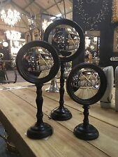 Set of 3 Decorative Round Antiqued Black Frame Convex Fisheye Mirrors on Stands