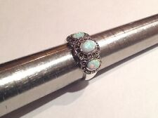Fire Opal 3 stone Marcasite Ring Sterling Silver N Antique Victorian style boxed