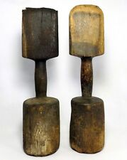 19TH C PAIR ANTIQUE PRIMITIVE HAND CARVED WOODEN SEAM RUBBER SAIL MAKING TOOLS