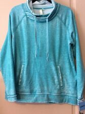 NEW Womens Teal Green Blue Burn Out Sweatshirt $70 Large Faded Shirt Soft Top
