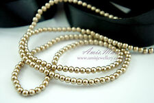 *180pcs Pearl Beads 4mm Gold Color Imitation Loose Acrylic Round Pearl Spacer*