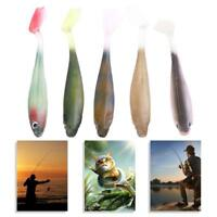 5pcs/set Fishing Lures Worm Soft 3D Eyes T Tail Swimming Bass Bait 90mm/5g