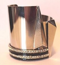 GIANNI VERSACE V Shaped Bangle with Crystals and Black Finish Details