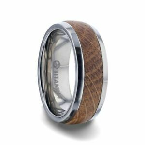 Jack Daniels Whiskey Barrel Inlaid Titanium Men's Wedding Band - 8mm