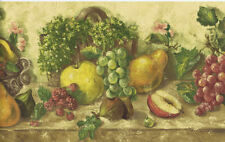 Apples, Pears, Grapes + on a Tuscan Looking Shelf Wallpaper Border  BT32355B