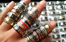 wholesale 50pcs mixed lot quality mens womens stainless steel stock rings