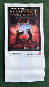 Star Wars Episode III Revenge of the Sith  Airsickness Bag Virgin Atlantic Video