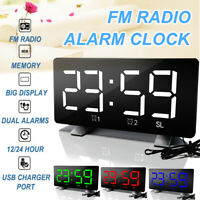 Alarm Clock Wake Up Light Digital Bedroom FM Radio Time Memory Therapy USB