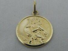9ct YELLOW GOLD SAINT CHRISTOPHER PENDANT ST CHRISTOPHER HALLMARKED
