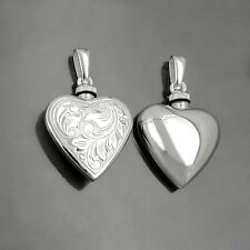 Frauen Herz Medaillon für Asche od. Parfüm Amulett Anhänger mit Kette Silber 925